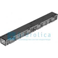 Комплект Gidrolica Light: лоток водоотводный ЛВ -10.11,5.9,5 - пластиковый  с решеткой РВ- 10.11.50 пластиковой ячеистой, кл. A15