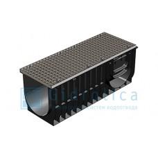 Комплект Gidrolica®Light: лоток водоотводный ЛВ-30.38.39,6 пластиковый c решёткой РВ–30.37.100 ячеистой стальной оцинкованной, кл. А15